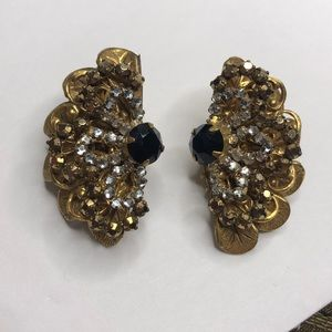 Miriam Haskell Vintage gold clip on earrings